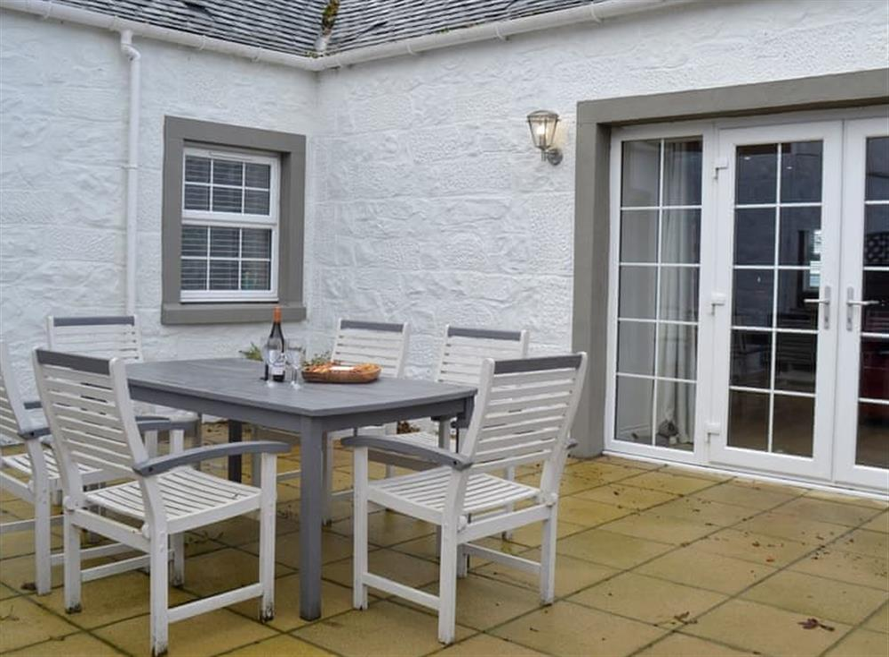 Outdoor dining area at Torcross Barn in Tarbolton, near Ayr, Ayrshire