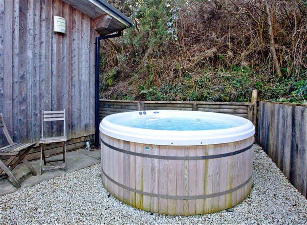 Hot tub at Treetops at Gara Mill in , Slapton