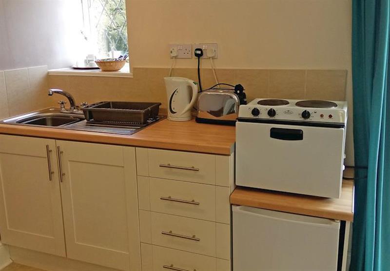 Kitchen in the Lee Studio at Trimstone Cottages in Trimstone, North Devon