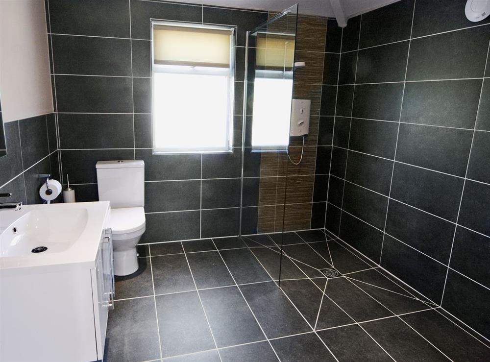 En-suite wet room at Tyddyn Hen in Sarn, near Pwllheli, Gwynedd
