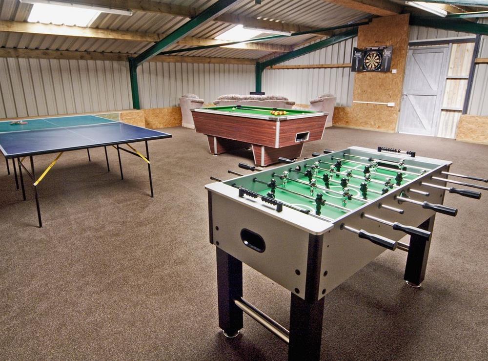 Games room at Tyddyn Hen in Sarn, near Pwllheli, Gwynedd