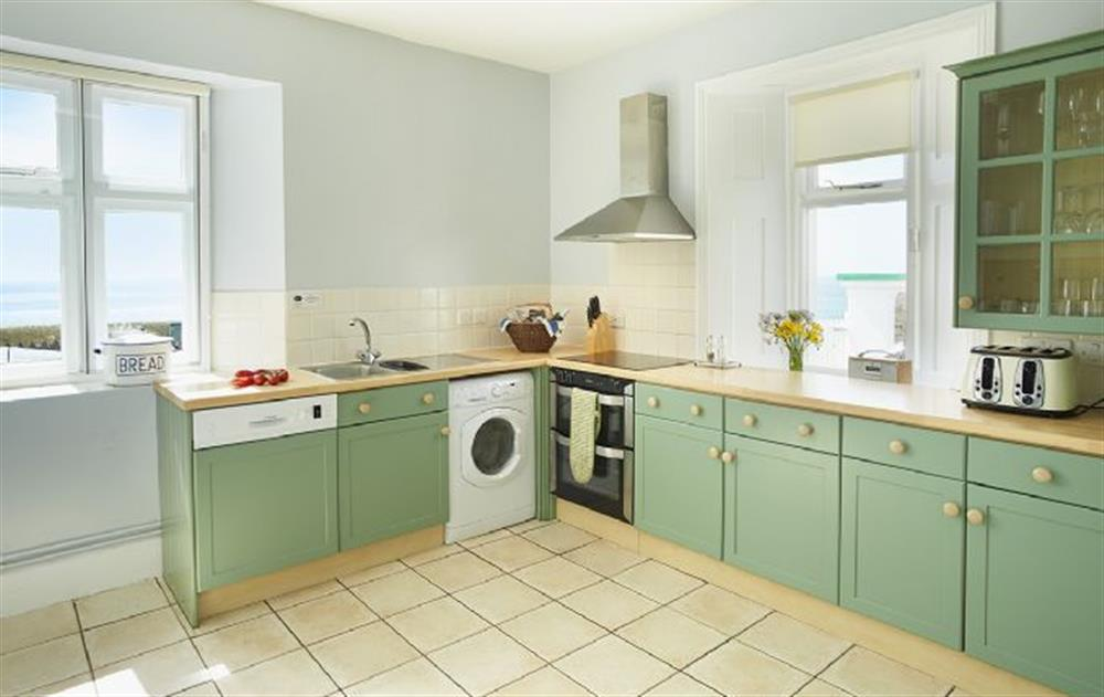 Ground floor: Fully fitted kitchen at Veronica Cottage, Anvil Point Lighthouse