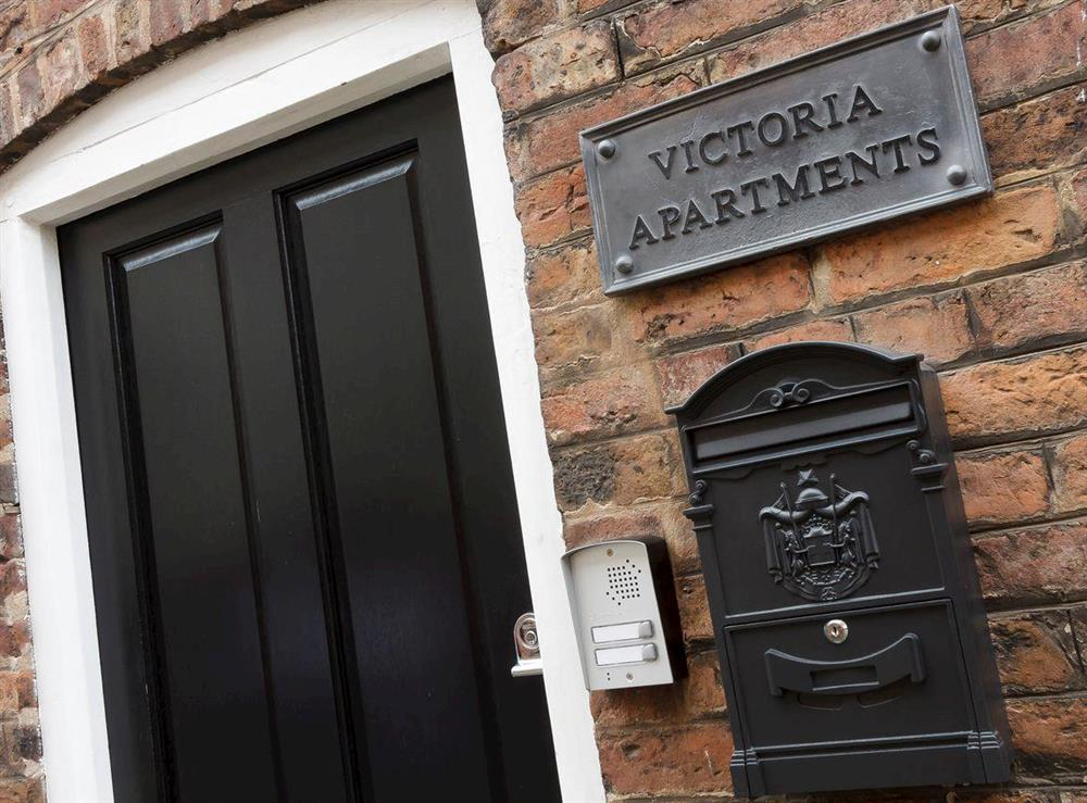 Entrance to apartment at No 2 Victoria Apartment,