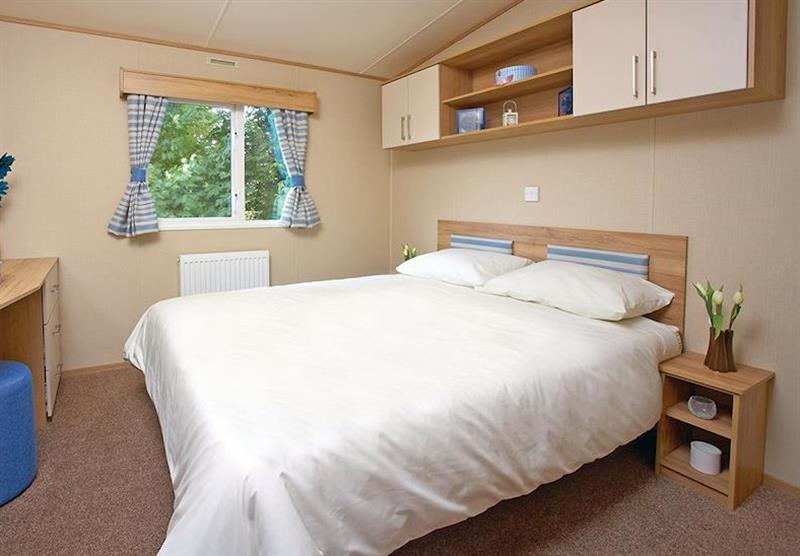 Double bedroom in the Superior Caravan 2 at Viewfield Manor Holiday Park in Kilwinning, Ayrshire