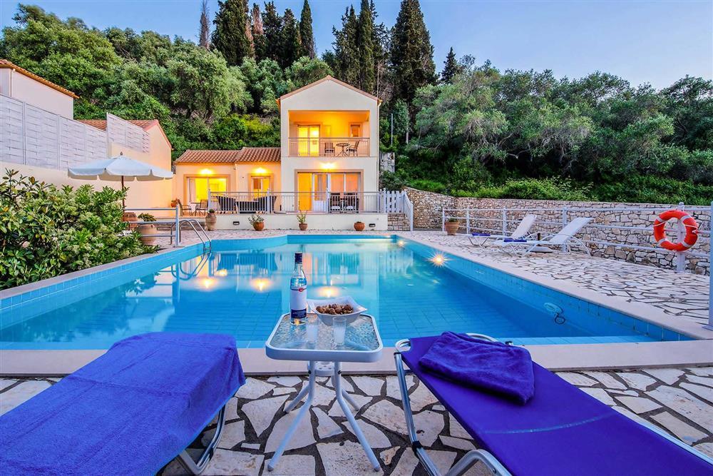 Evening shot, pool, villa exterior