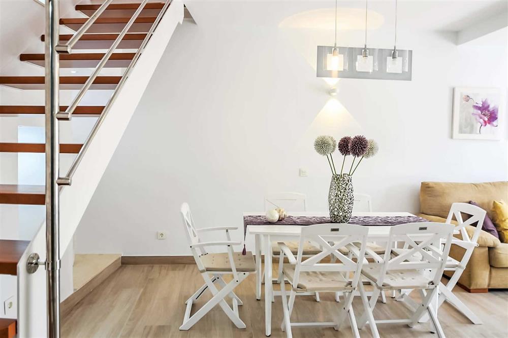 Dining room, staircase at Villa Aurorita, Nerja, Andalucia