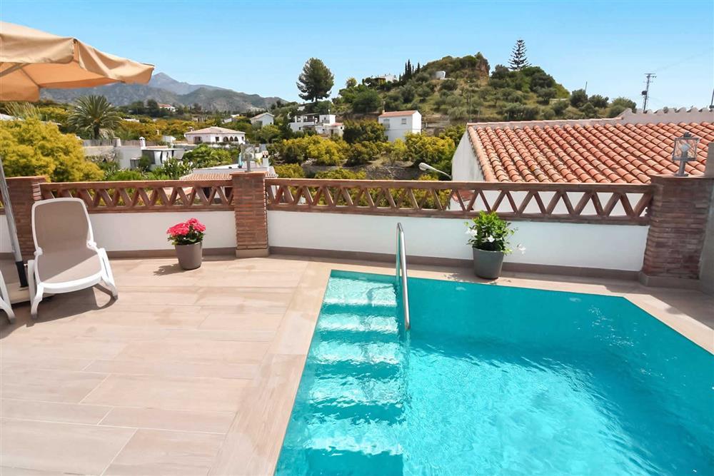 Pool, view at Villa Aurorita, Nerja, Andalucia