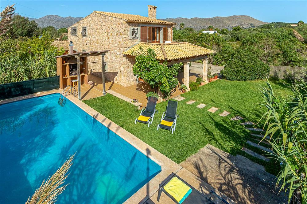 Villa with pool, sunloungers, aerial view at Villa Avinent, Pollensa, Mallorca