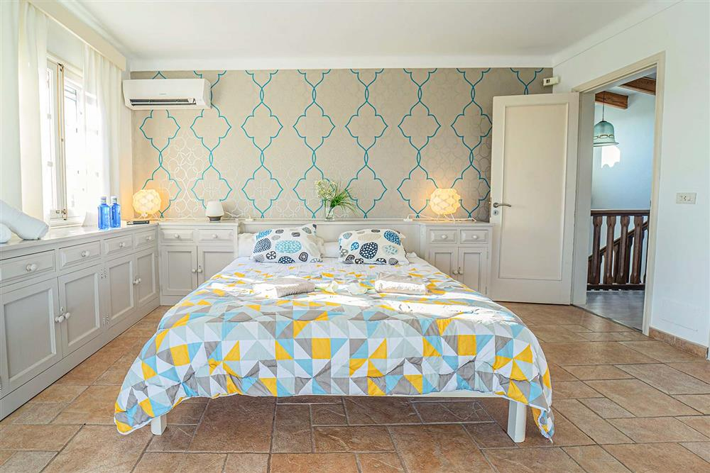 One of the double bedrooms at Villa Can Bobis Gran, Pollensa, Mallorca