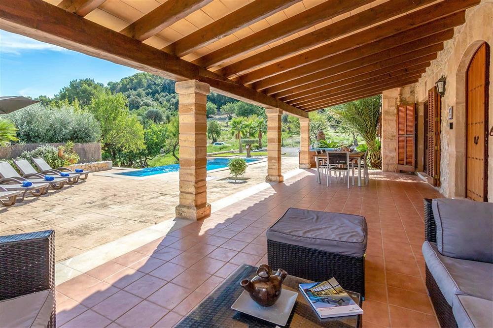 Covered terrace, seating area at Villa Can Gallardo, Pollensa, Mallorca