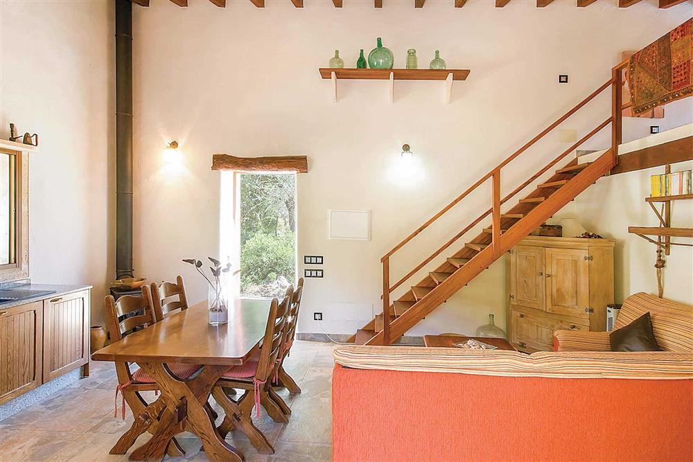 The kitchen and dining area at Villa Can Nicolau, Cala San Vicente, Mallorca