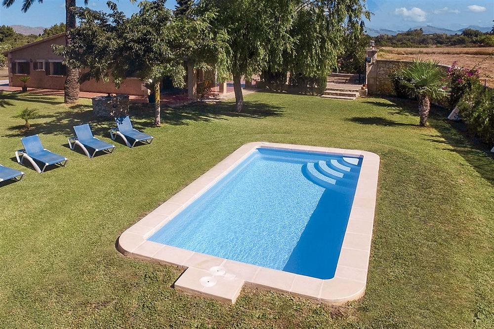 Swimming pool and lawned garden at Villa Can Segue, Alcudia, Mallorca