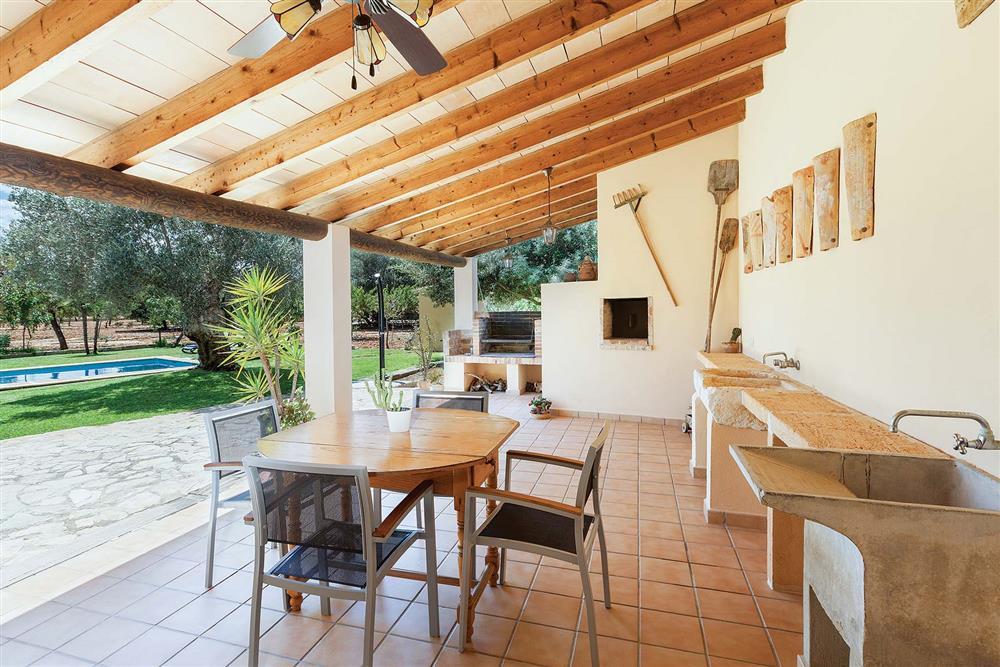 Shaded seating area at Villa Carratxet, Sa Pobla, Mallorca