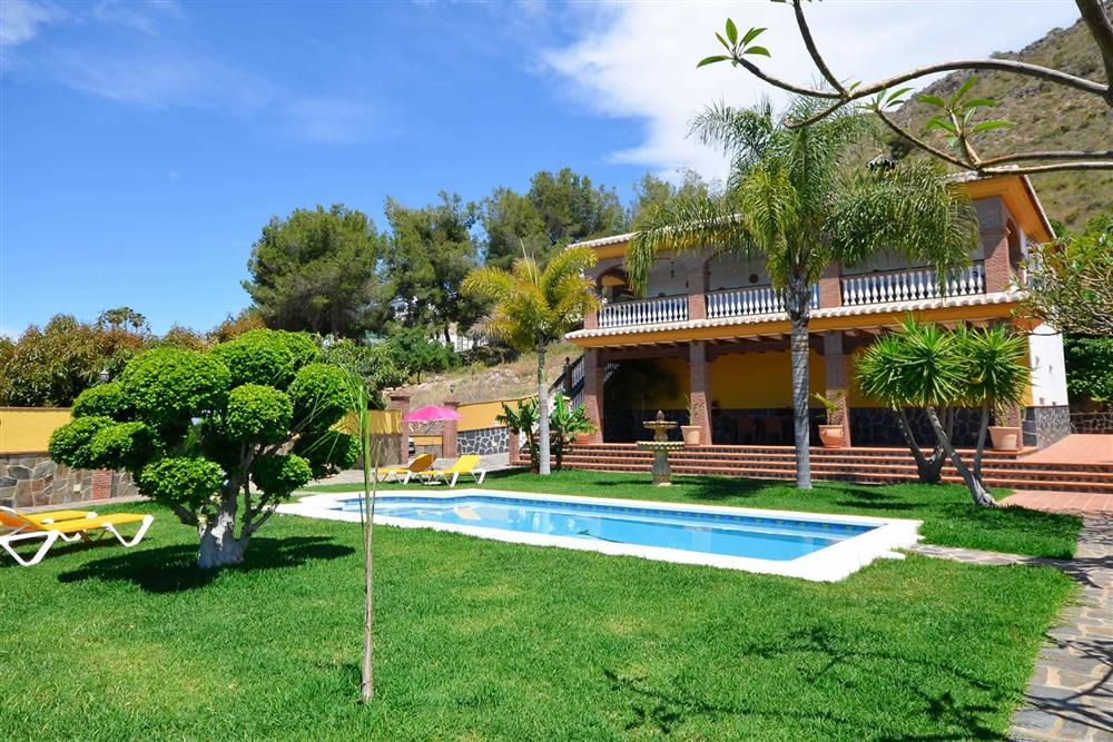 Villa with pool, villa exterior, sunloungers at Villa Casa Dalia, Nerja, Andalucia