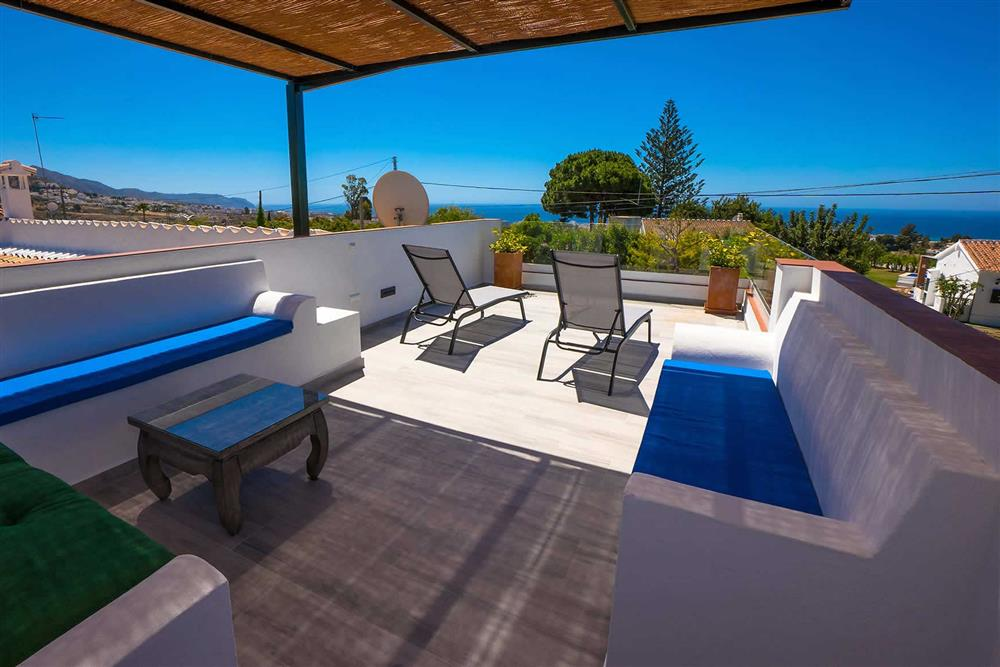 Seating area, sea view at Villa Casa Linda, Nerja, Andalucia