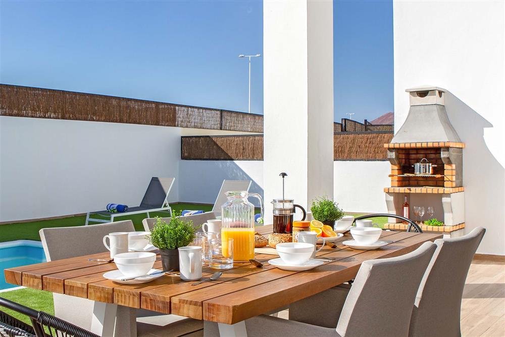 Lunch by the pool at Villa Cindy, Playa Blanca, Lanzarote