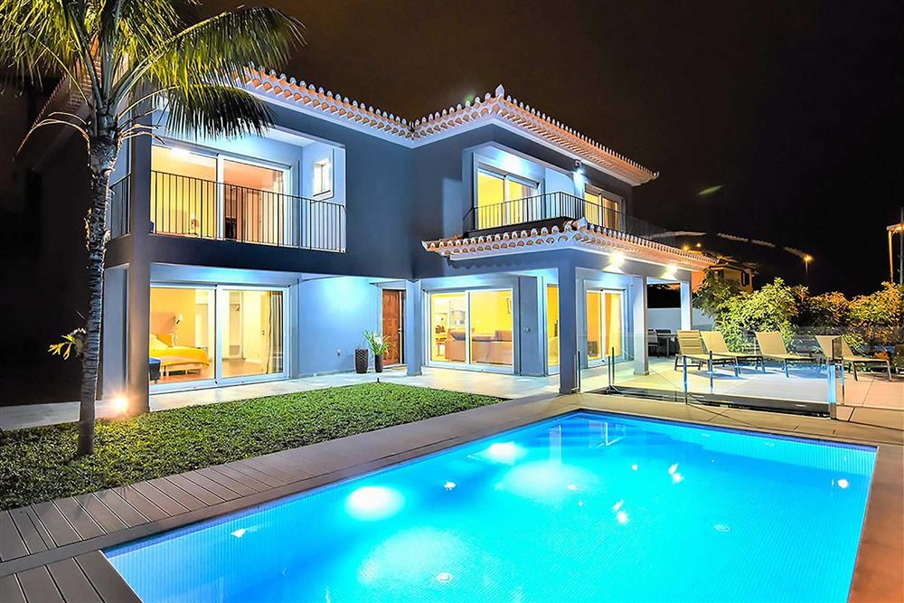 Villa with pool, night shot at Villa Clementina, Funchal, Madeira