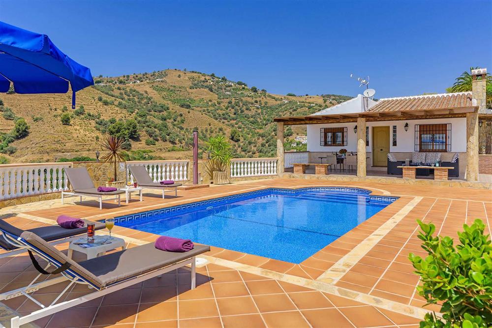Pool, sunloungers at Villa Cortijo Herrero, Frigiliana, Andalucia