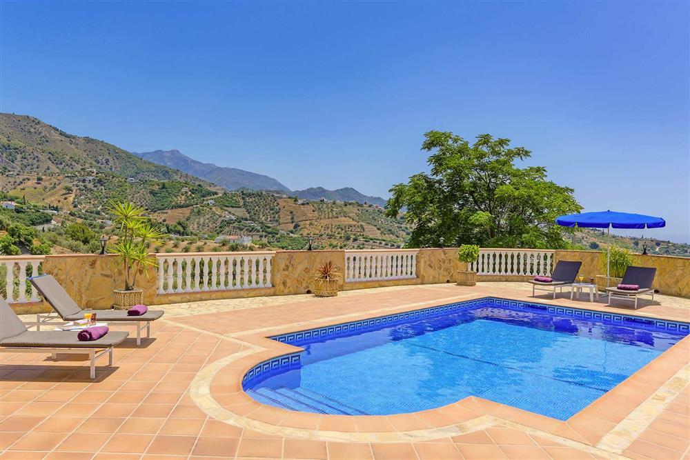 Pool, view at Villa Cortijo Herrero, Frigiliana, Andalucia