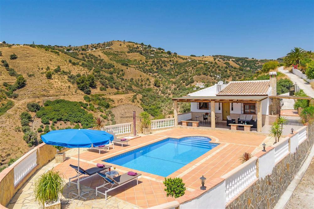 Pool, villa exterior at Villa Cortijo Herrero, Frigiliana, Andalucia
