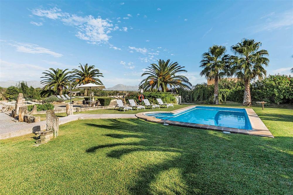 Garden, pool at Villa Cosme, Pollensa, Mallorca, Spain