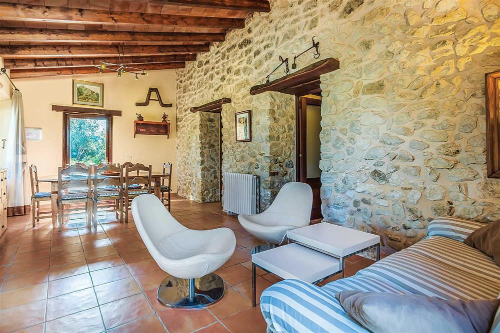 Seating area, dining room at Villa Cosme, Pollensa, Mallorca, Spain