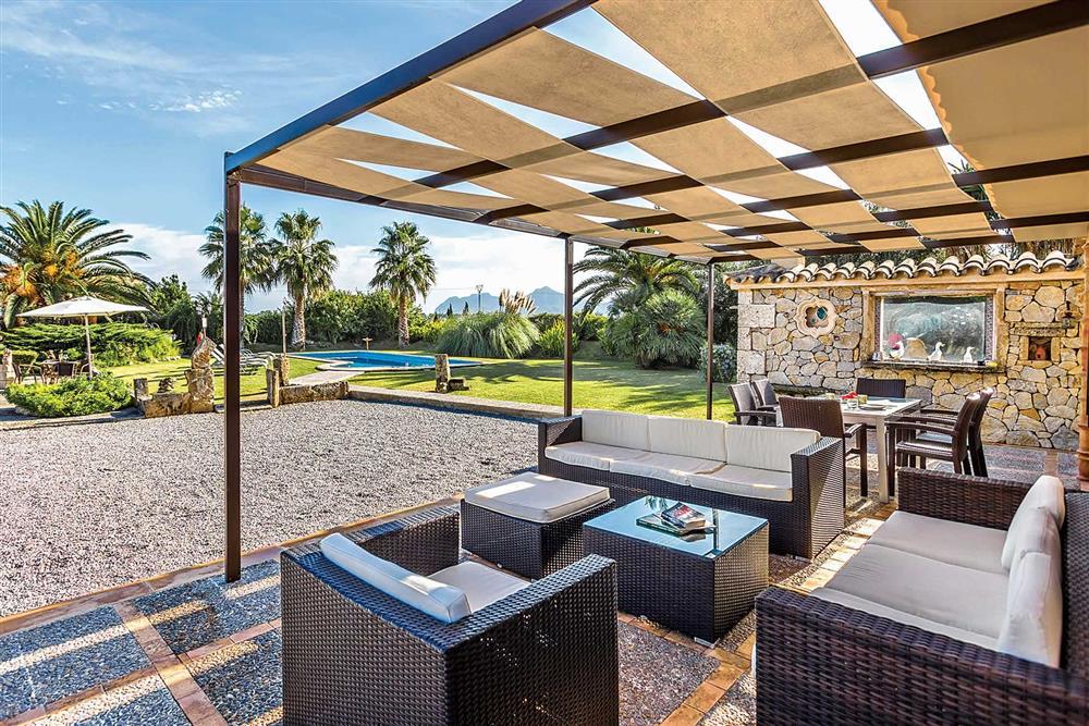 View, alfresco dining, garden at Villa Cosme, Pollensa, Mallorca, Spain