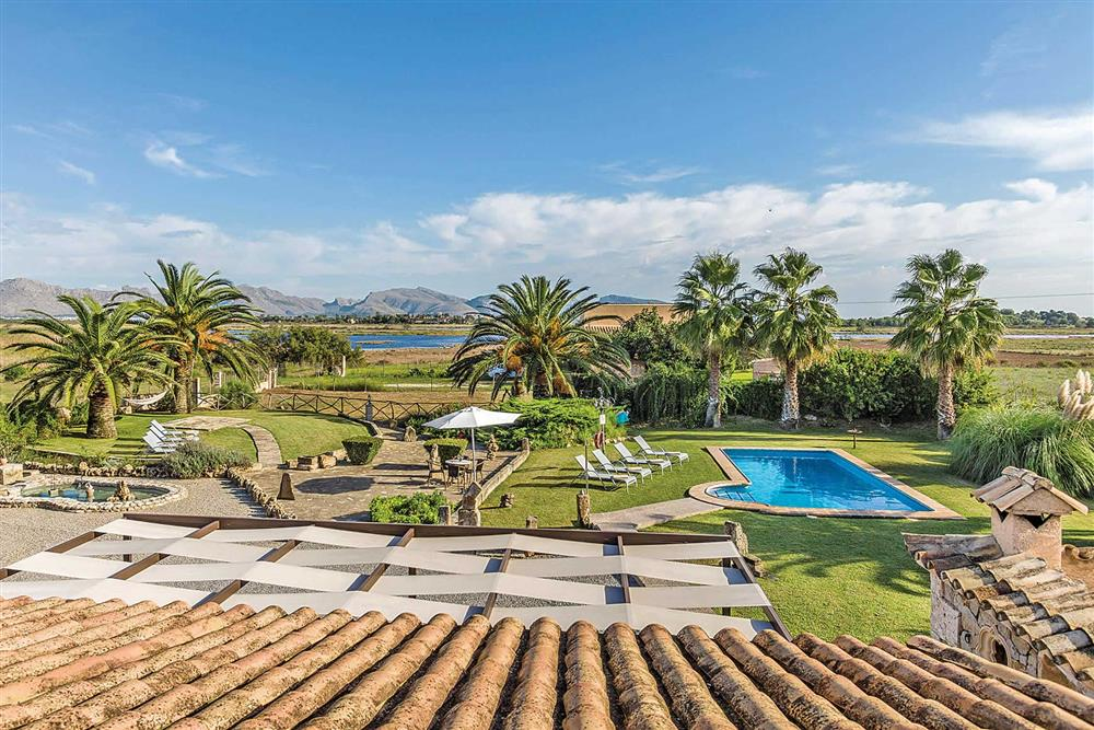 View, garden, pool at Villa Cosme, Pollensa, Mallorca, Spain