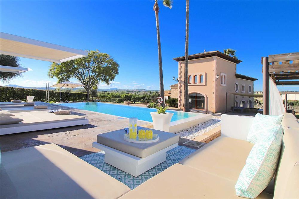 Villa with pool, villa exterior, sunloungers at Villa Es Bosqueres, Santa Margalida, Mallorca