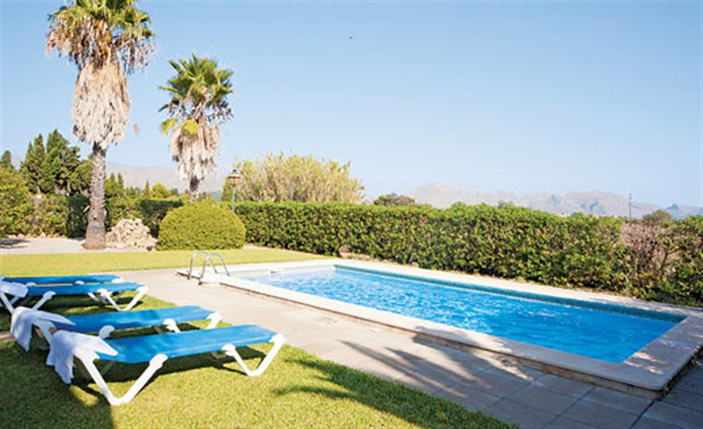 Sun loungers and swimming pool at Villa Isabel, Pollensa Mallorca, Spain