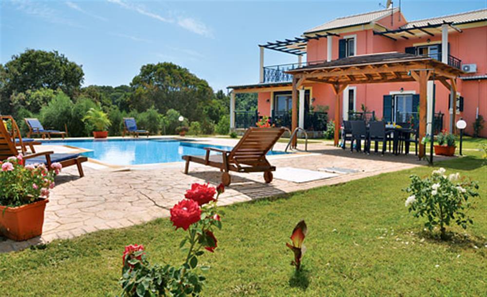 Garden and pool at Villa Karetta, Lake Korrison Corfu, Greece