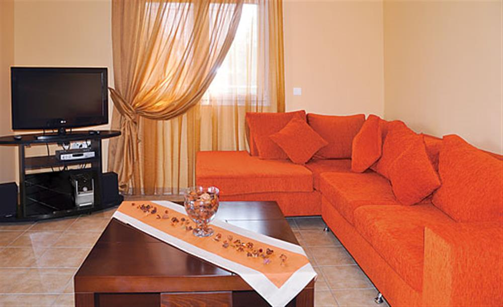 Living room at Villa Karetta, Lake Korrison Corfu, Greece