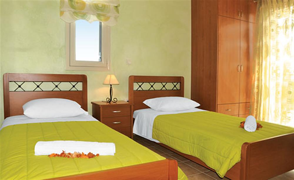 Twin bedroom at Villa Karetta, Lake Korrison Corfu, Greece