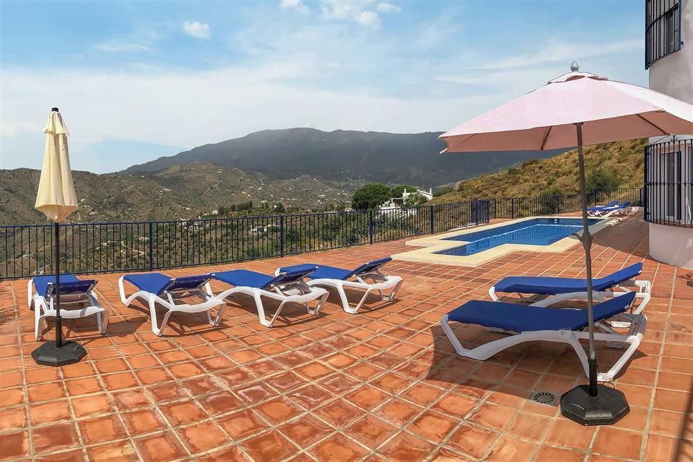 Pool, view at Villa Las Rosinas, Competa, Andalucia