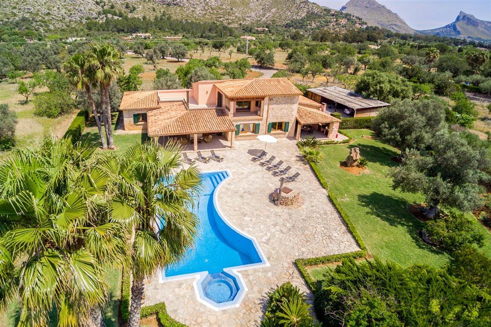 Aerial view, villa with pool, rural (photo 2) at Villa Les Oliveres, Puerto Pollensa, Mallorca