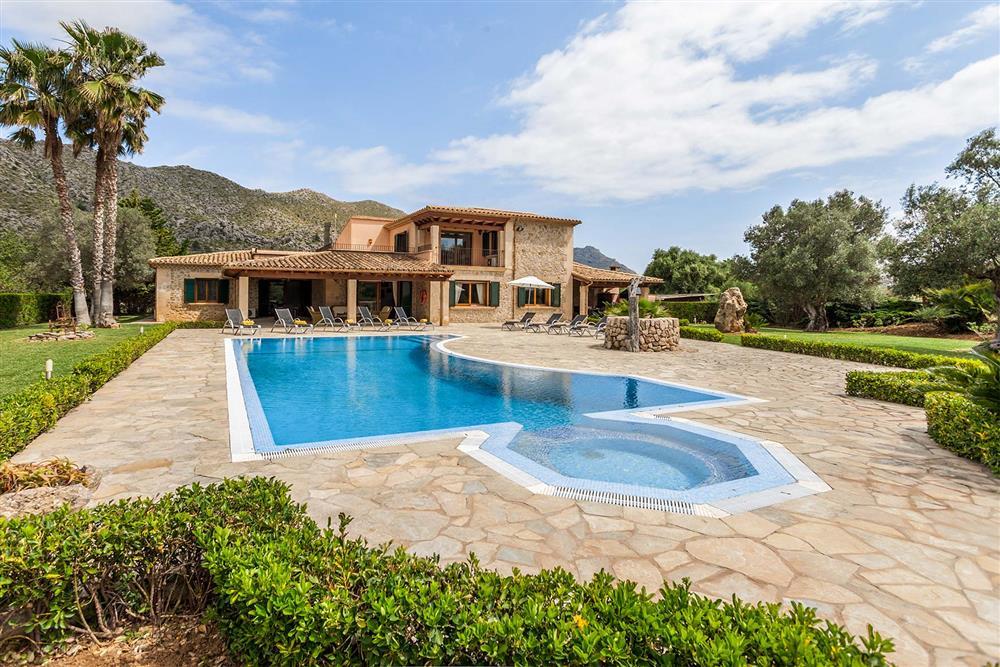 Villa exterior, pool at Villa Les Oliveres, Puerto Pollensa, Mallorca