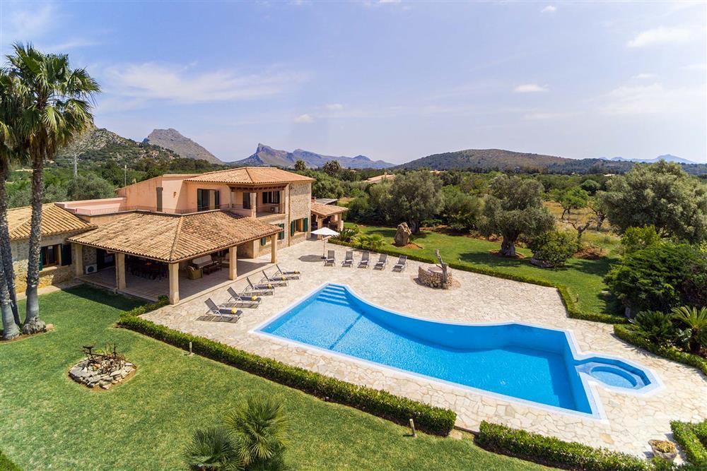 Villa with pool, aerial view at Villa Les Oliveres, Puerto Pollensa, Mallorca