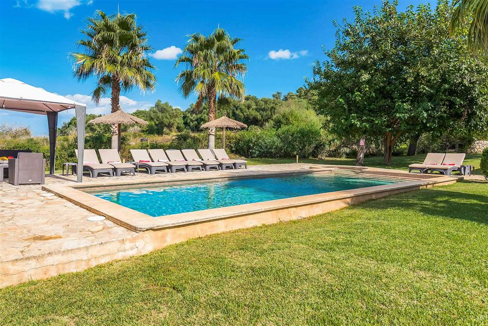 Pool, seating area at Villa Les Roques de can Guixe, Pollensa, Mallorca