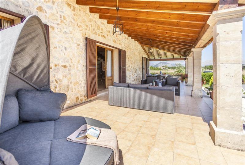 Shaded seating at Villa Lirio, Alcudia, Spain