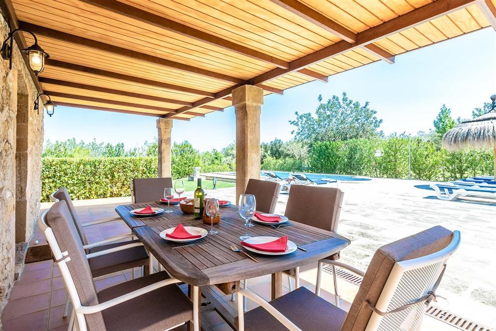 Alfresco dining, pool at Villa Marina Alto, Pollensa, Mallorca