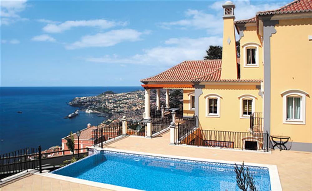 The pool in the garden at Villa Palheiro Sea Villa, Palheiro Golf Resort Madeira, Portugal