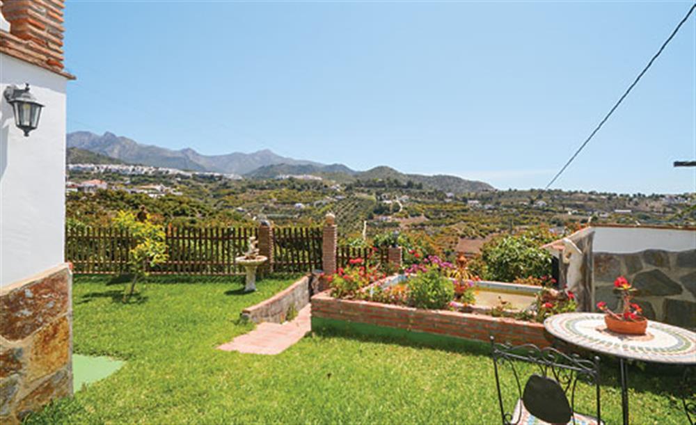Garden with views at Villa Paloma, Frigiliana, Andalucia