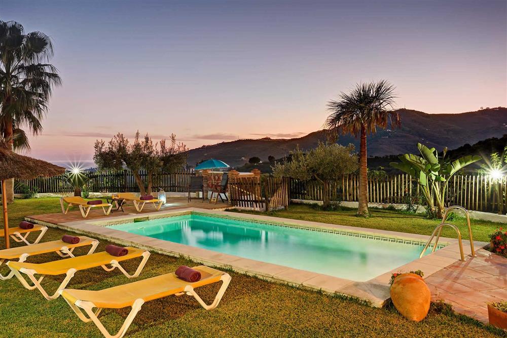 Pool, view, night shot at Villa Paraiso, Frigiliana, Andalucia