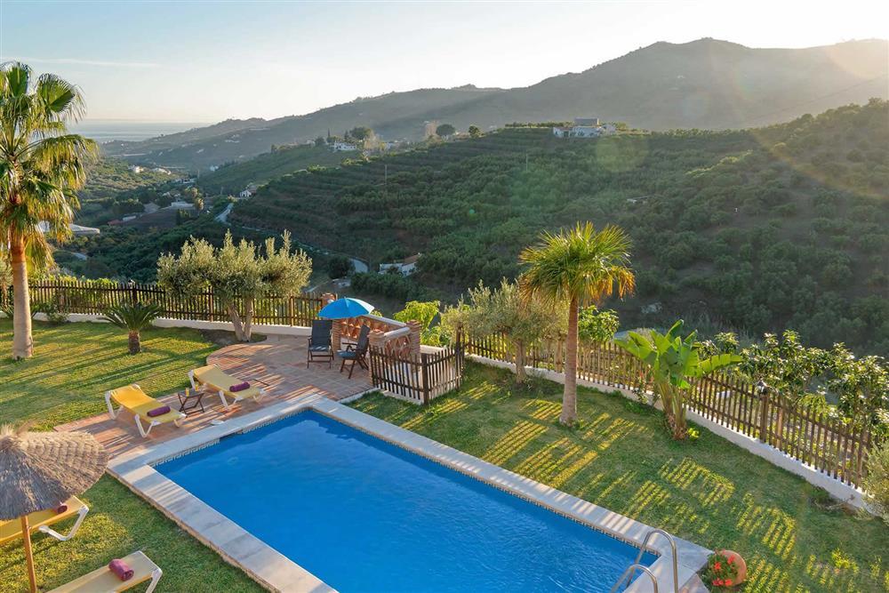 Pool, view at Villa Paraiso, Frigiliana, Andalucia