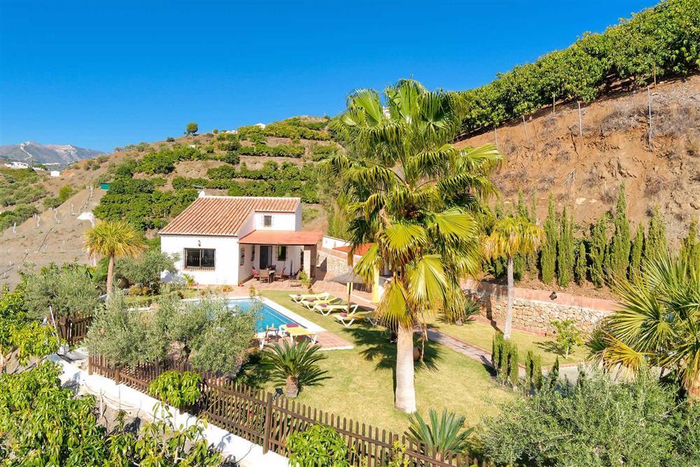 Villa with pool, aerial view at Villa Paraiso, Frigiliana, Andalucia