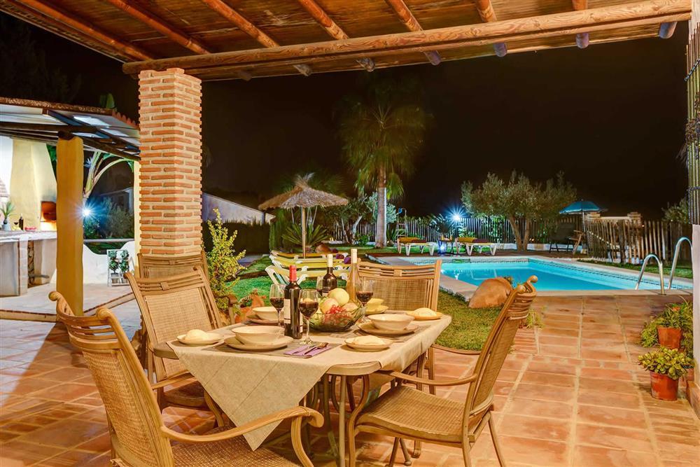 Villa with pool, alfresco dining, night shot at Villa Paraiso, Frigiliana, Andalucia