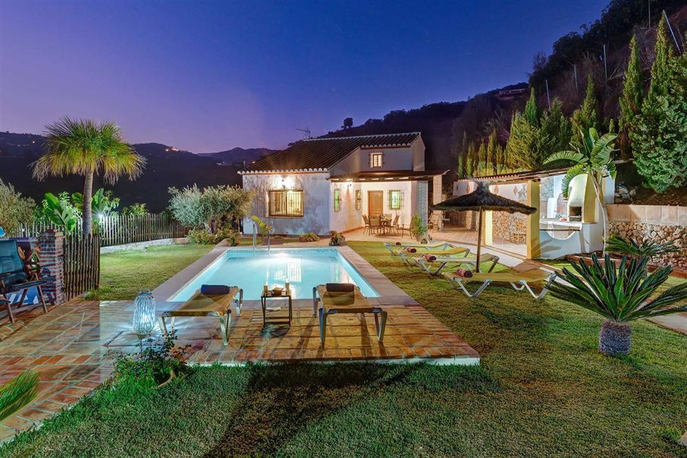 Villa with pool, night shot at Villa Paraiso, Frigiliana, Andalucia
