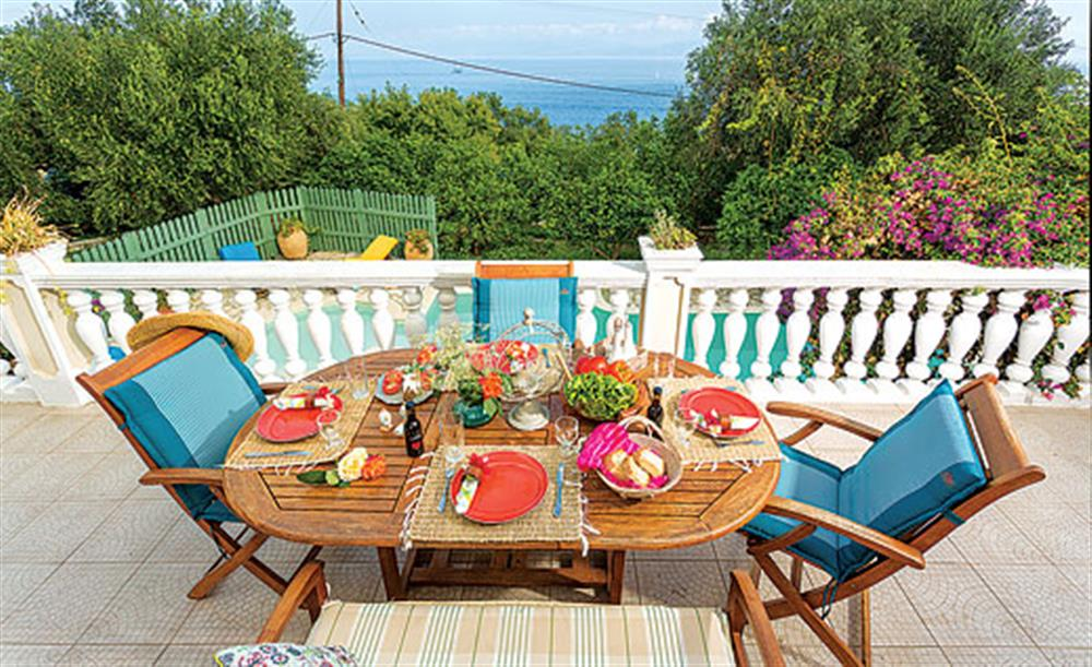 Outside dining with a view of the sea