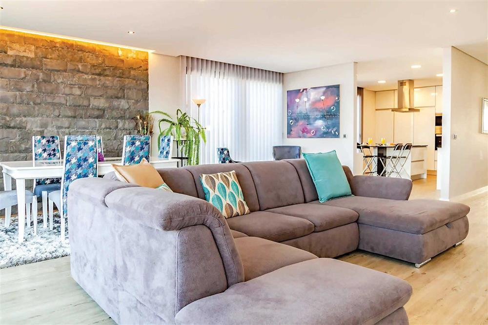 Open plan, lounge, dining room at Villa Serafina, Funchal, Madeira