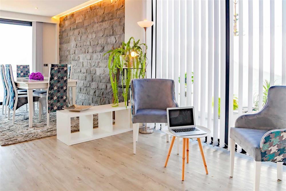 Seating area, dining room at Villa Serafina, Funchal, Madeira